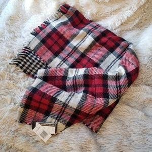 Steve Madden red, black, and white blanket scarf